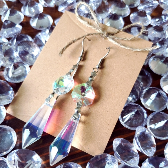 Rainbow Gold Dangle Earrings Rainbow Iridescent Glass Earrings